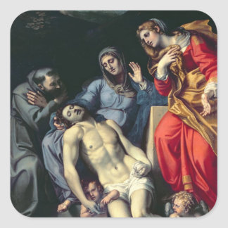 Pieta with St. Francis and St. Mary Magdalene, c.1 Square Sticker