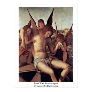 Pieta With Three Angels By Antonello Da Messina Postcards