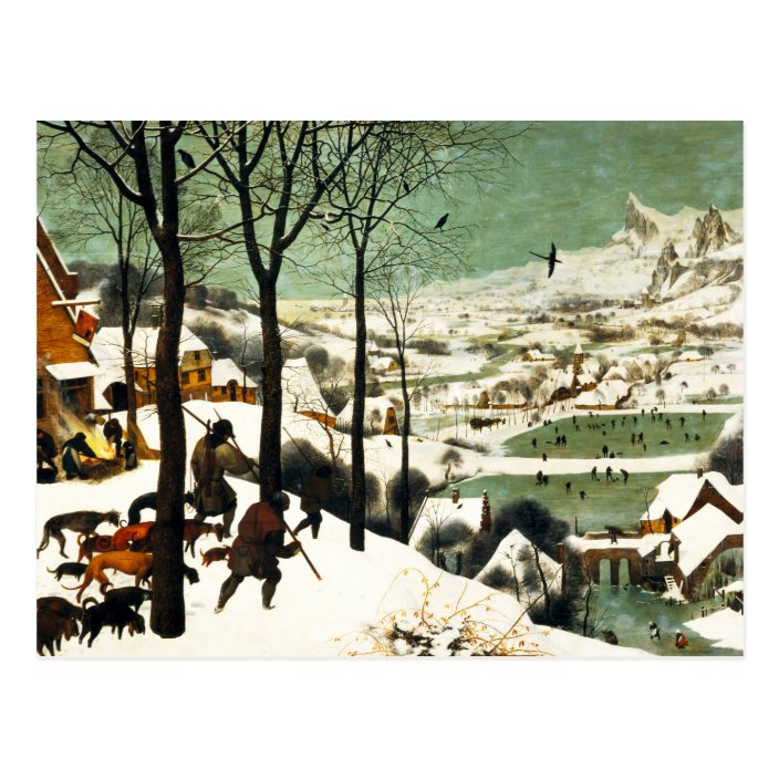 Pieter Bruegel Hunters In The Snow Postcard Zazzle Com