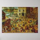 Pieter Bruegel la anciano - los juegos de los niño Posters