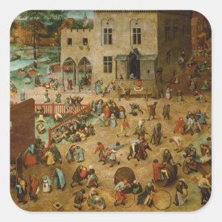 Pieter Bruegel la anciano - los juegos de los Pegatina Cuadrada