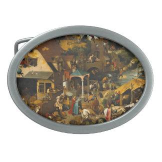 Pieter Bruegel la anciano - los proverbios Hebilla De Cinturon Oval