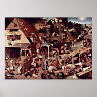 Pieter Bruegel la anciano - los proverbios holande Poster