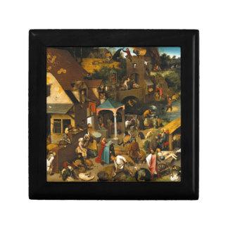 Pieter Bruegel la anciano - los proverbios Joyero Cuadrado Pequeño