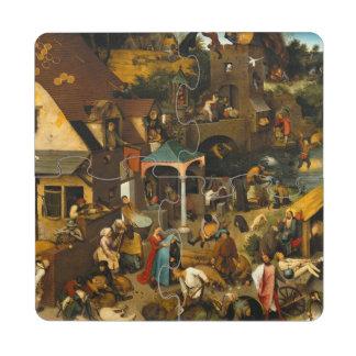 Pieter Bruegel la anciano - los proverbios Posavasos De Puzzle