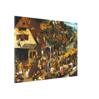 Pieter Bruegel la anciano - proverbios de Netherla Impresiones En Lienzo Estiradas