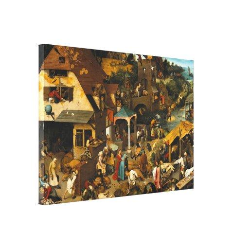 Pieter Bruegel la anciano - proverbios de Netherla Impresion De Lienzo
