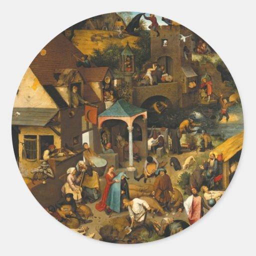 Pieter Bruegel la anciano - proverbios de Pegatina Redonda