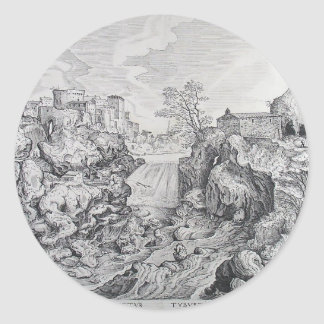 Pieter Bruegel la más vieja vista de Tivoli Etiquetas Redondas