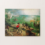 """Pieter Bruegel Landscape with the Fall of Icarus Jigsaw Puzzle<br><div class=""""desc"""">Pieter Bruegel Landscape with the Fall of Icarus puzzle. Oil on canvas from 1560s. One of the most discussed mythological paintings of all time. Landscape with the Fall of Icarus by Pieter Bruegel the Elder features a rich landscape scene with farmers, fishers and sailing ships. Icarus himself is just barely...</div>"""
