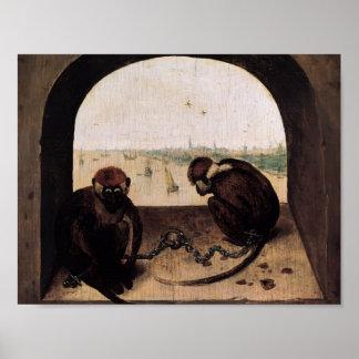 Pieter Bruegel los dos monos encadenados más viejo Posters