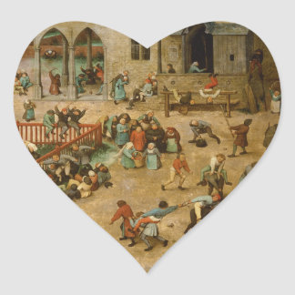Pieter Bruegel the Elder - Children's Games Heart Sticker