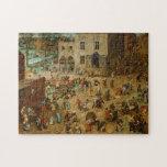 """Pieter Bruegel the Elder - Children's Games Jigsaw Puzzle<br><div class=""""desc"""">Pieter Bruegel the Elder - Children's Games,  1560.</div>"""