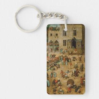 Pieter Bruegel the Elder - Children's Games Single-Sided Rectangular Acrylic Keychain