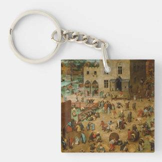 Pieter Bruegel the Elder - Children's Games Single-Sided Square Acrylic Keychain
