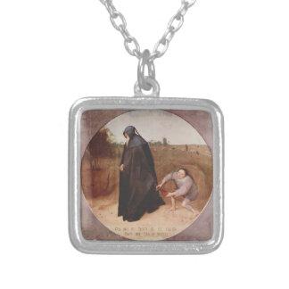 Pieter Bruegel the Elder- Misanthrope Silver Plated Necklace