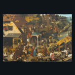"""Pieter Bruegel the Elder - Netherlandish Proverbs Placemat<br><div class=""""desc"""">Netherlandish Proverbs (also called The Blue Cloak or The Topsy Turvy World) is a 1559 oil-on-oak-panel painting by Pieter Bruegel the Elder that depicts a land populated with literal renditions of Dutch proverbs of the day. The picture is overflowing with references and most of the representations still can be identified;...</div>"""