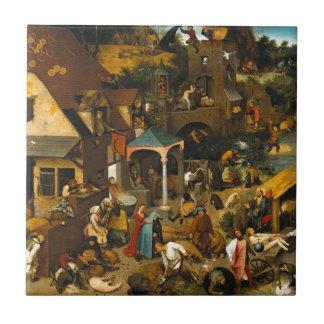 Pieter Bruegel the Elder - The Dutch Proverbs Ceramic Tile