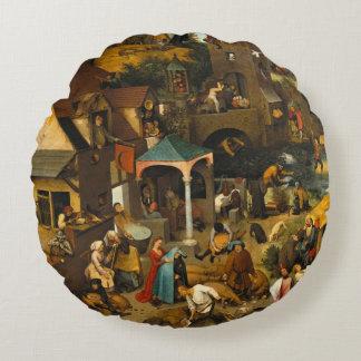 Pieter Bruegel the Elder - The Dutch Proverbs Round Pillow