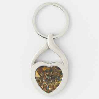 Pieter Bruegel the Elder - The Dutch Proverbs Silver-Colored Heart-Shaped Metal Keychain