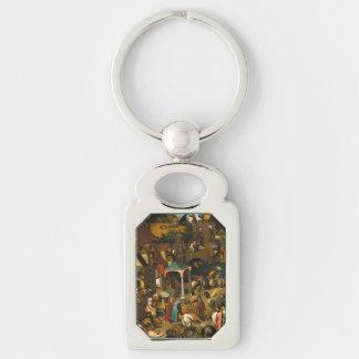 Pieter Bruegel the Elder - The Dutch Proverbs Silver-Colored Rectangular Metal Keychain