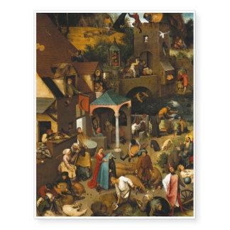 Pieter Bruegel the Elder - The Dutch Proverbs Temporary Tattoos