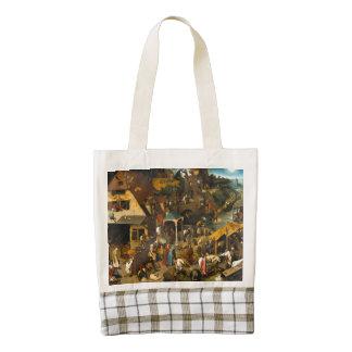 Pieter Bruegel the Elder - The Dutch Proverbs Zazzle HEART Tote Bag