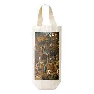 Pieter Bruegel the Elder - The Dutch Proverbs Zazzle HEART Wine Bag