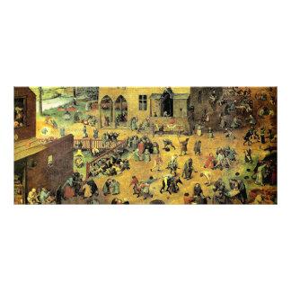 """Pieter Bruegel's """"Children's Games"""" - 1560 Rack Card"""