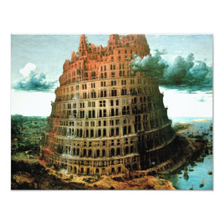 "Pieter Bruegel's The ""Little"" Tower of Babel 4.25x5.5 Paper Invitation Card"