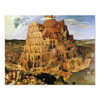 "Pieter Bruegel's ""The Tower of Babel"" (circa 1563) 4.25"" X 5.5"" Invitation Card"