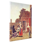 Pieter de Hooch - Hof with officers and woman Gallery Wrapped Canvas