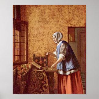 Pieter de Hooch - muere Goldwagerin Posters