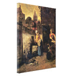 Pieter de Hooch - Two women with a child in court Stretched Canvas Print