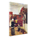 Pieter de Hooch - wife and maid in a courtyard Gallery Wrap Canvas