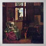 Pieter de Hooch - Woman Reading a Letter Print