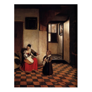 Pieter Hooch- A Woman with a Baby in Her Lap Post Cards