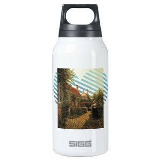 Pieter Hooch- Woman with basket of beans in garden 10 Oz Insulated SIGG Thermos Water Bottle