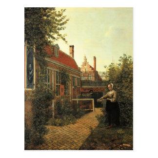 Pieter Hooch- Woman with basket of beans in garden Postcard