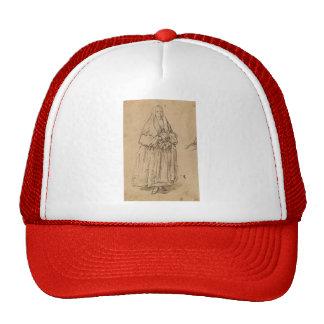 Pietro Longhi: Standing Woman Holding a Muff Mesh Hats