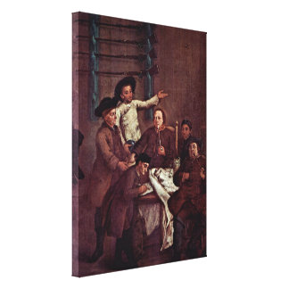 Pietro Longhi - The draw for the hunter Gallery Wrapped Canvas
