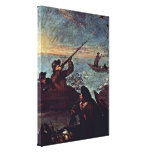 Pietro Longhi - The shooter in the barrel Stretched Canvas Print
