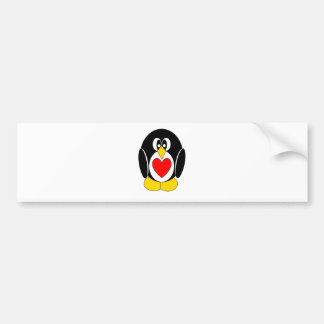 Pietro the Penguin Heart Belly Bumper Sticker