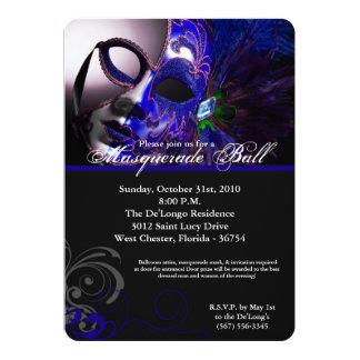 """Pieza azul de Halloween del traje de la máscara de Invitación 5"""" X 7"""""""
