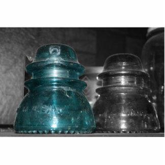 Pieza azul de la foto de los aisladores coloreada escultura fotográfica