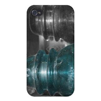 Pieza azul de la foto de los aisladores coloreada iPhone 4 funda