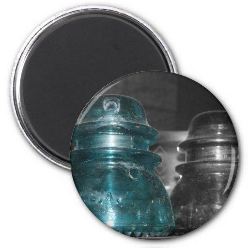 Pieza azul de la foto de los aisladores coloreada iman de frigorífico