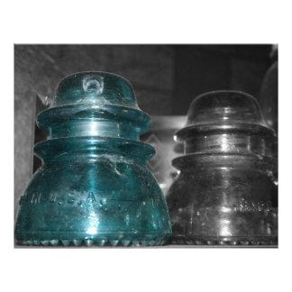 Pieza azul de la foto de los aisladores coloreada membretes personalizados