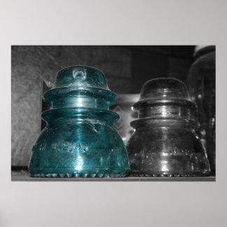 Pieza azul de la foto de los aisladores coloreada impresiones