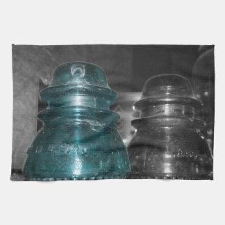 Pieza azul de la foto de los aisladores coloreada toalla